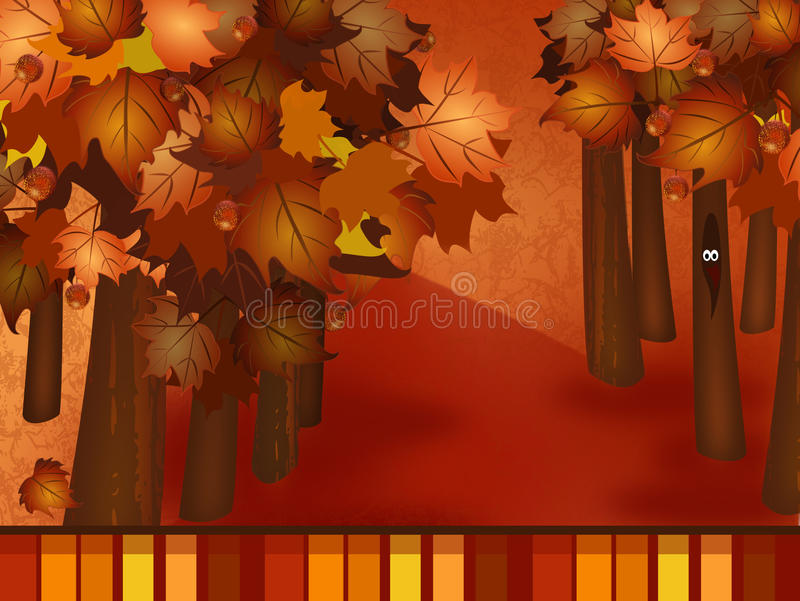 Fall woodsy Background. Illustration of a fall background with whimsy woods stock illustration
