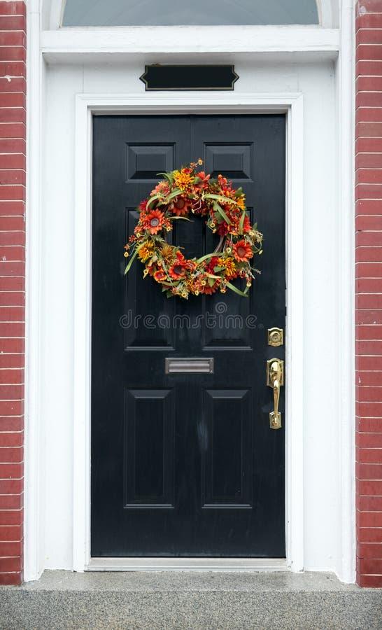 Autumn Wreath on Black Front Door stock image
