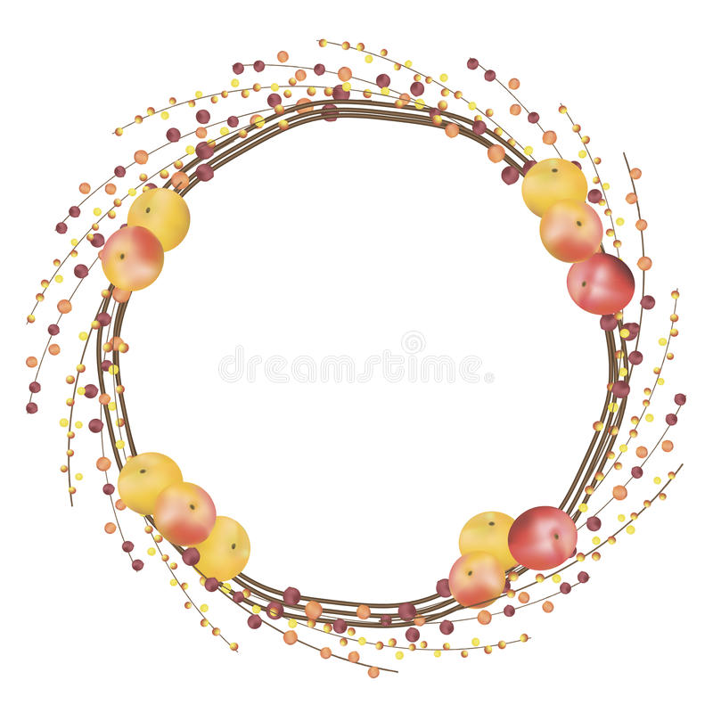 Fall wreath. Vector illustration of fall wreath consisting of red berries branches and apples stock illustration