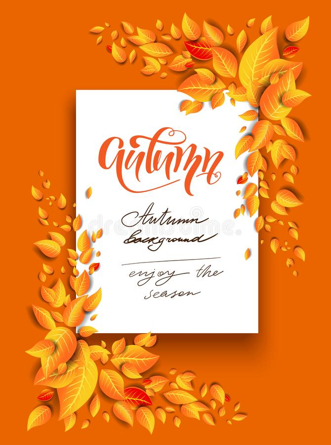 Fall leaves frame. Fall yellow leaves decoration. Autumn vector illustration for design banner, ticket, leaflet, card, poster and so on stock illustration