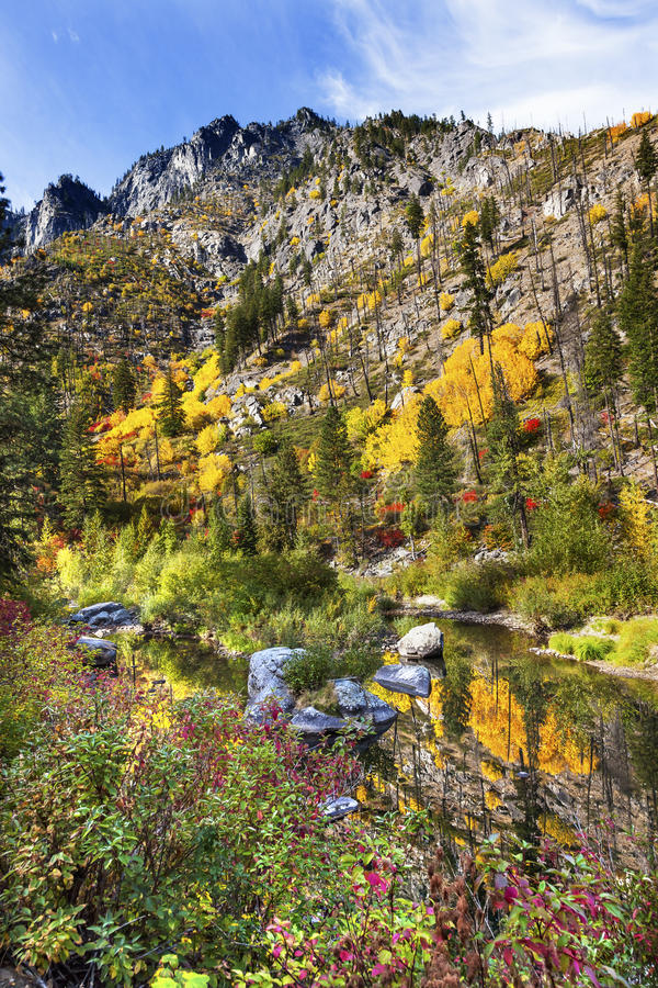 Fall Yellow Red Colors Reflection Wenatchee River Washington. Fall Yellow Red Green Colors Reflection Wenatchee River Reflections Stevens Pass Leavenworth stock images