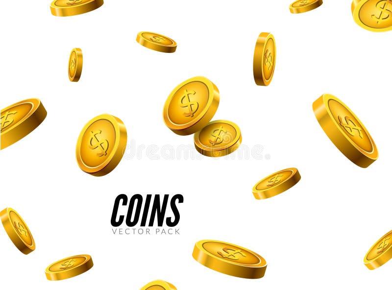 Falla för guld- mynt för vektor Realistisk design för myntsymboler med skugga Kontant skattframgångbegrepp vektor illustrationer