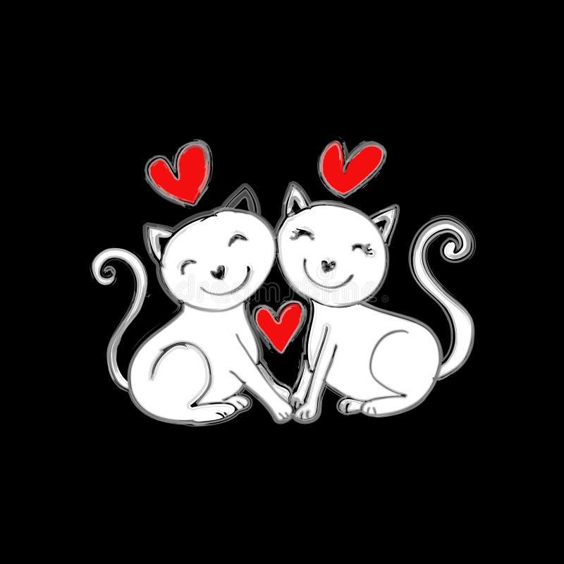 Falla för två katter som är förälskat stock illustrationer