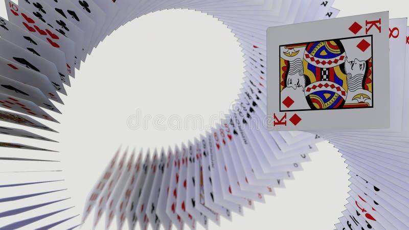 falla f?r kort f?r poker 3d stock illustrationer