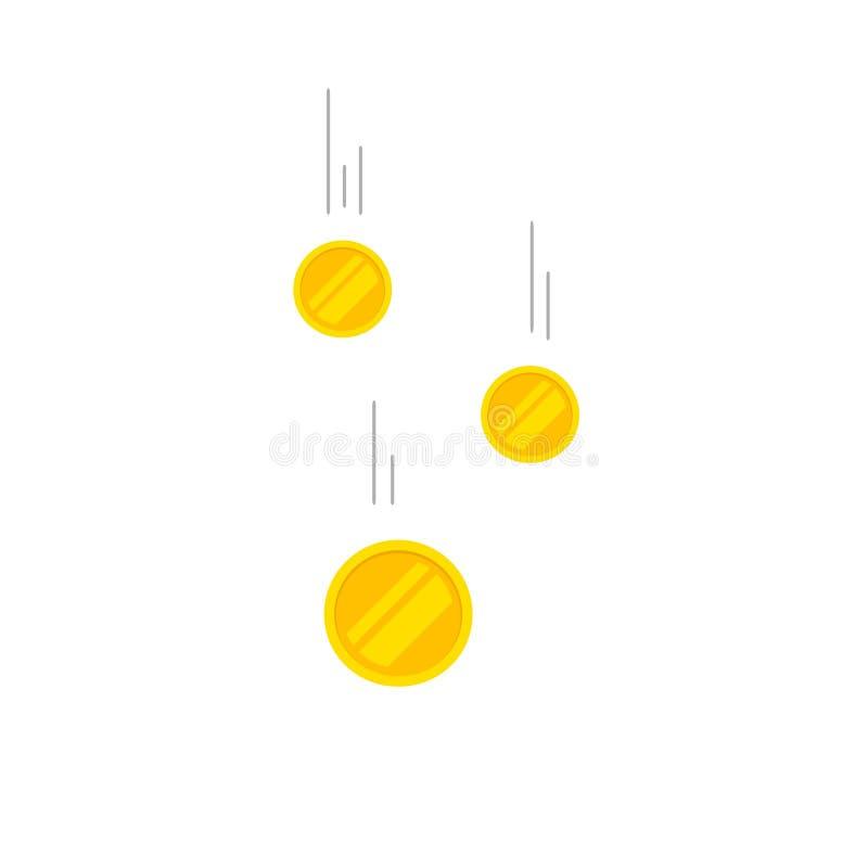 Falla myntar pengarvektorillustrationen som flyger guld royaltyfri illustrationer
