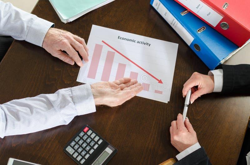 Falla ner av ekonomisk aktivitet royaltyfria foton