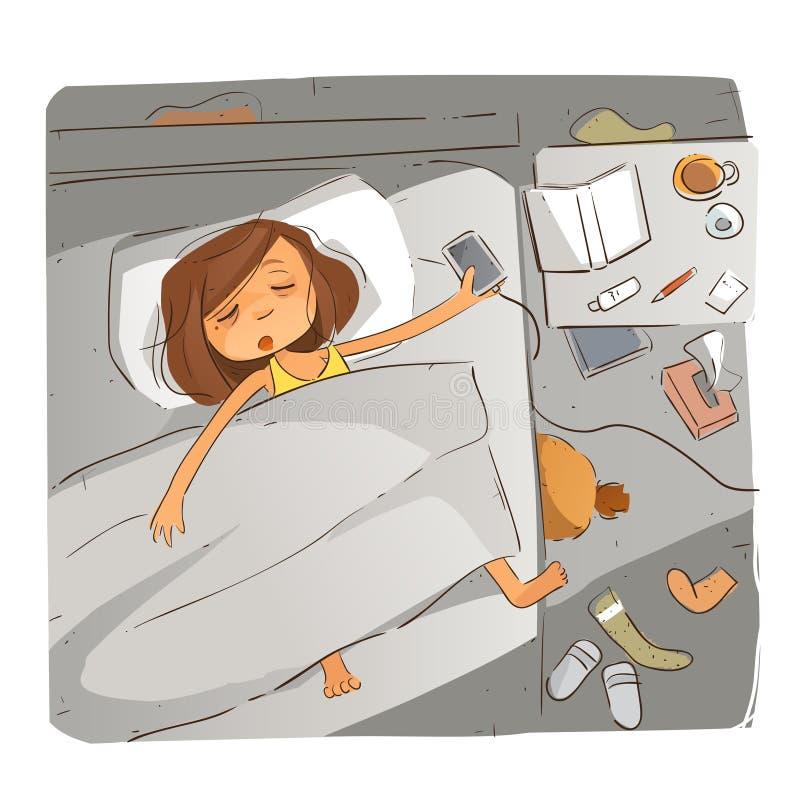 Falla sovande på natten vektor illustrationer