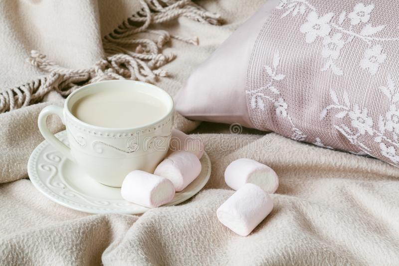 Fallabend mit warmem Plaidbuch und heißem Tee mit Milch stockfotos