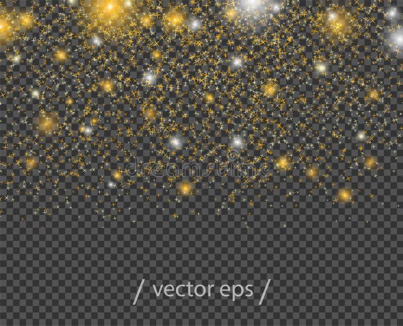 Fallande abstrakta guld- stjärnor, med ljusa effekter Modell för vektorbeståndsdeldekor på isolerad genomskinlig bakgrund royaltyfri illustrationer