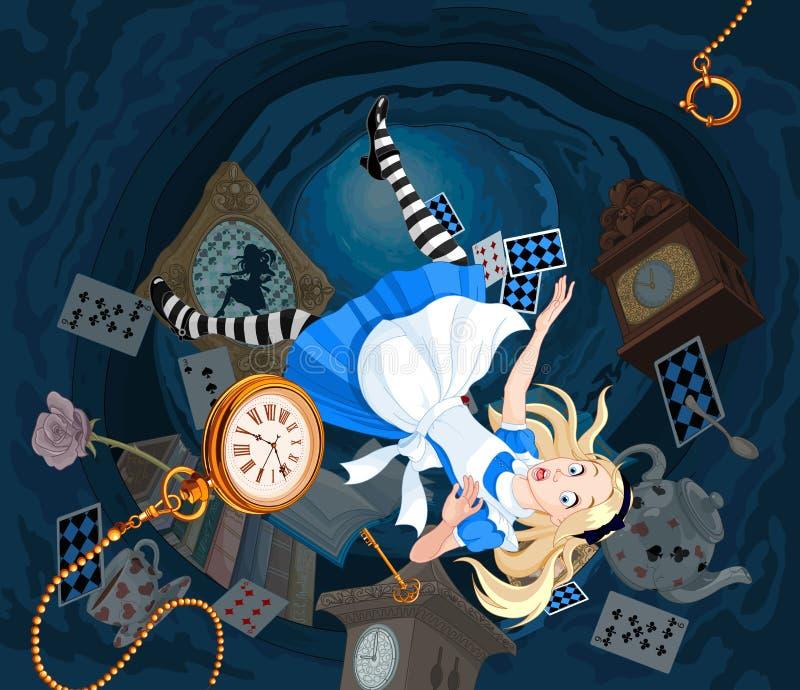 Fallande Alice stock illustrationer