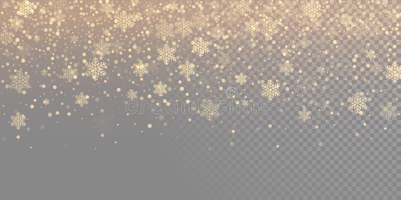 Fallande bakgrund för modell för snöflinga guld- Guld- snöfallsamkopieringstextur som isoleras på genomskinlig vit bakgrund Vinte royaltyfri illustrationer