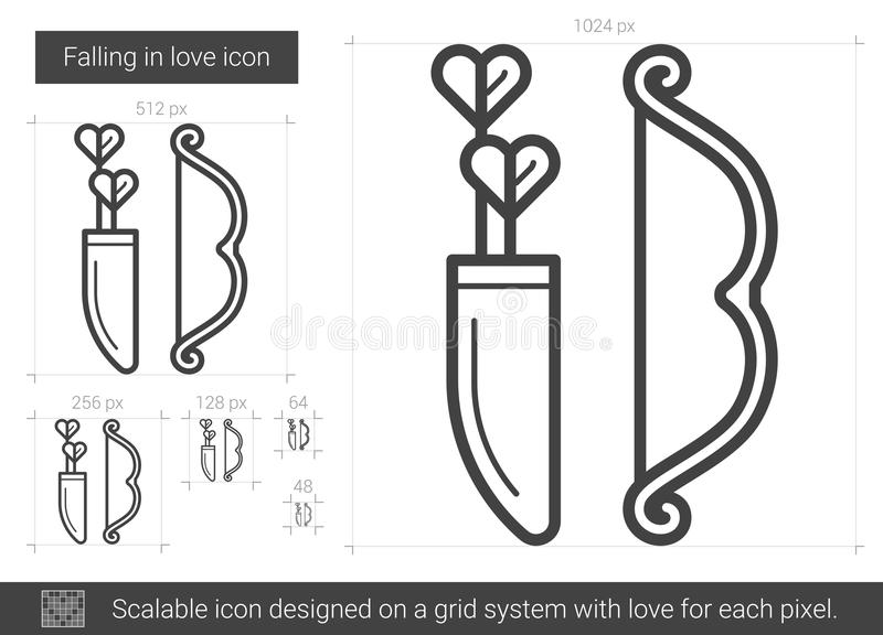 Fallande förälskad linje symbol stock illustrationer
