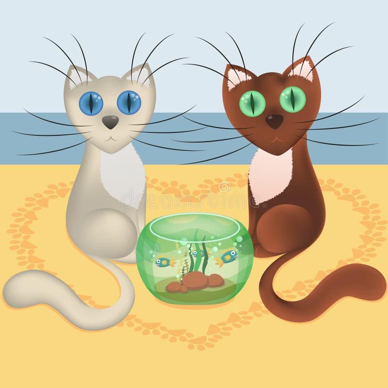 Fallande förälskade tecknad filmkatter, strand av havet, hjärta från spår av katten tafsar fotspår, akvariet, vektorn, eps10 vektor illustrationer