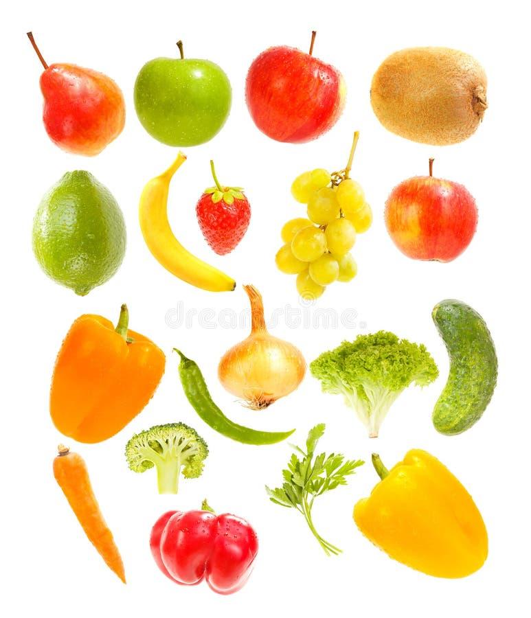 Fallande frukter och grönsaker royaltyfria bilder