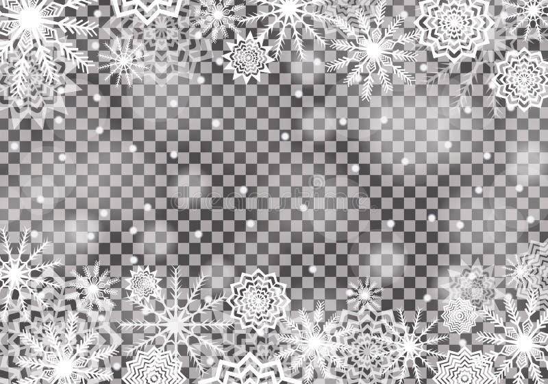 Fallande genomskinlig bakgrund för snö Snöflingaabstrakt begrepp Vinteråska royaltyfri illustrationer