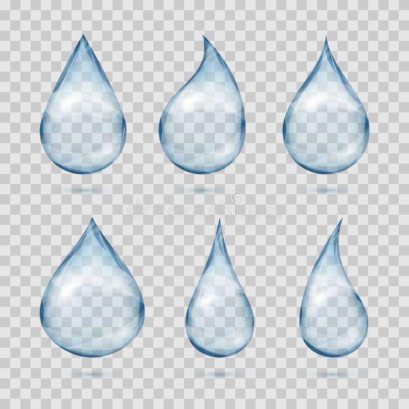 Fallande genomskinligt vatten tappar vektoruppsättningen på plädbakgrund royaltyfri illustrationer