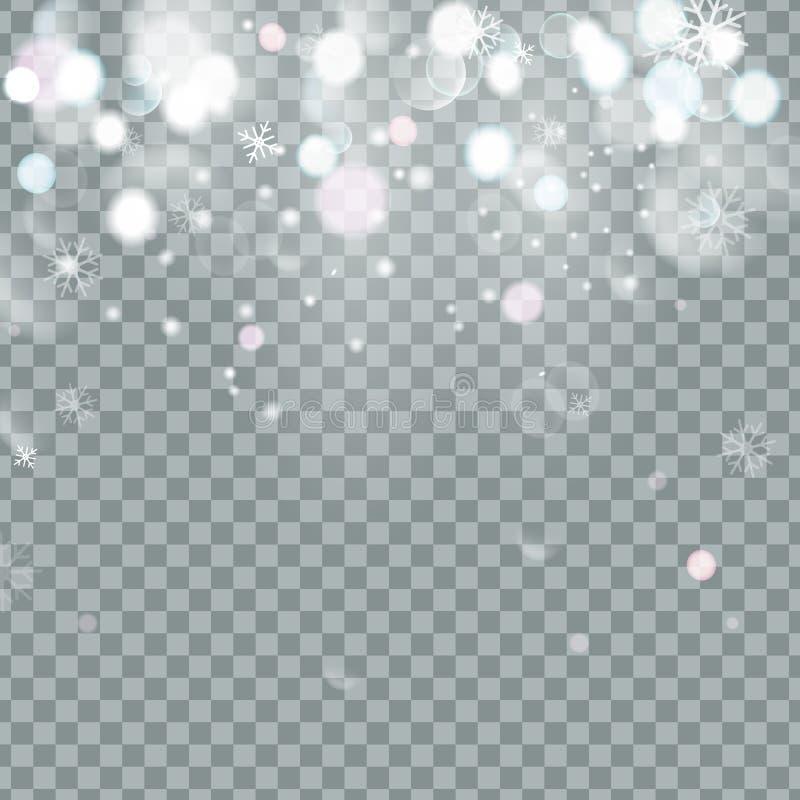 Fallande glänsande härlig snö för jul som isoleras på genomskinlig bakgrund Snöflingor snöfall Snöflingavektor stock illustrationer