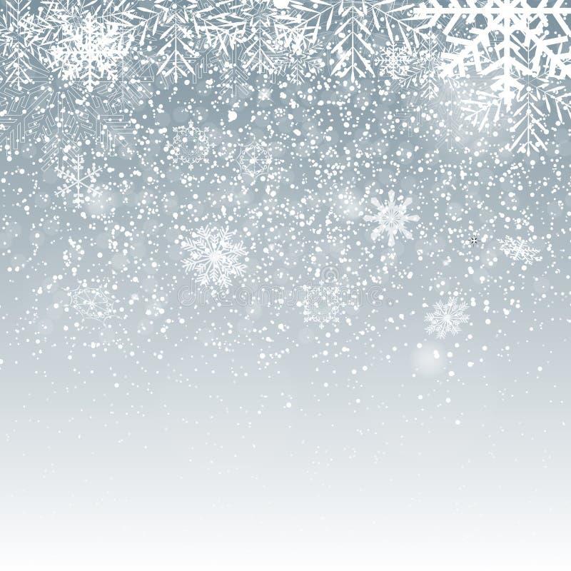 Fallande glänsande snöflingor och snö på blå bakgrund Bakgrund för jul, för vinter och för nytt år Realistisk vektor vektor illustrationer