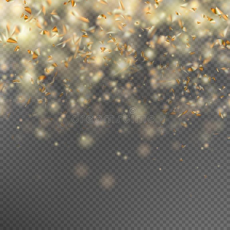 Fallande guld blänker partiklar 10 eps royaltyfri illustrationer