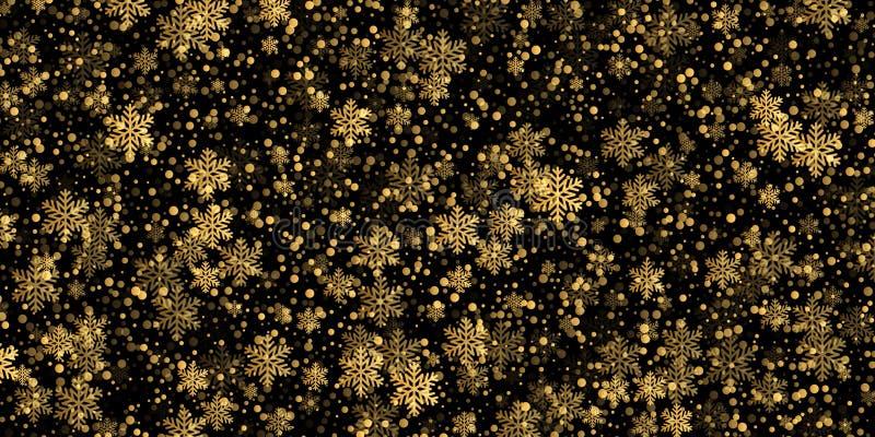Fallande guld- modellbakgrund för snöflinga av guld- snöfallsamkopieringstextur som isoleras på genomskinlig bakgrund VinterXmas- royaltyfri illustrationer