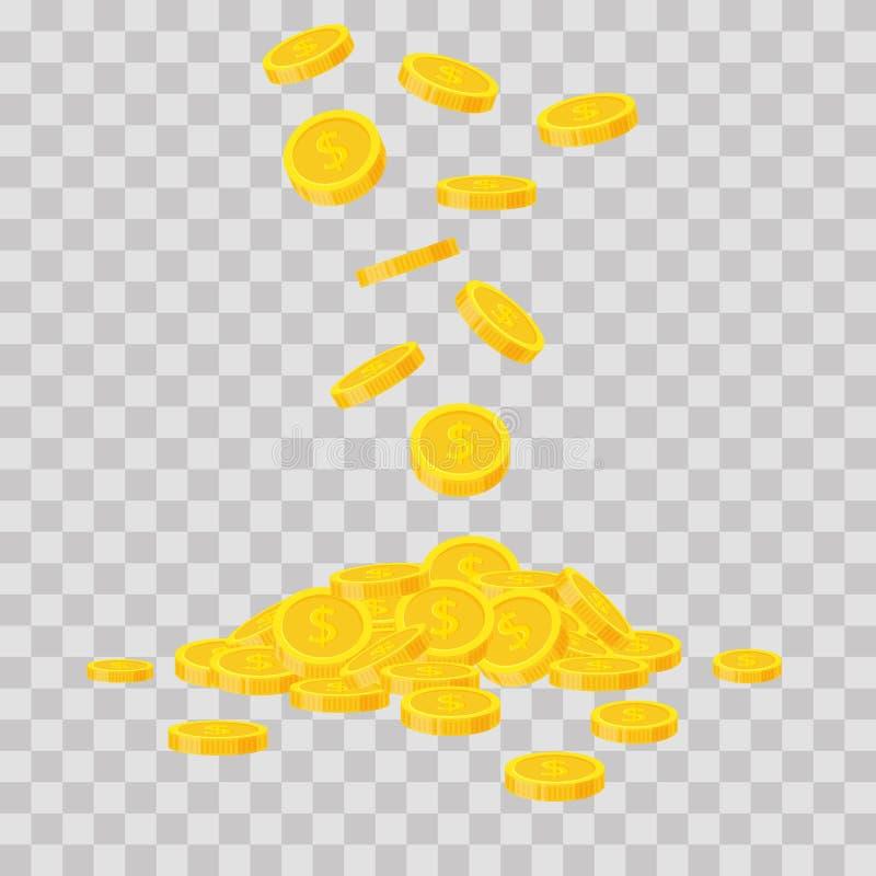 Fallande guld- mynt på genomskinlig bakgrund Kontant pengarhög Kommersiella bankrörelsen, finansbegrepp i plan stil vektor illustrationer