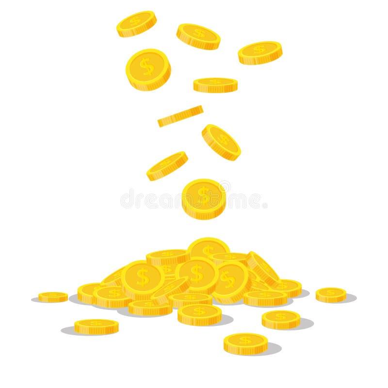 Fallande guld- mynt som isoleras på vit bakgrund Kontant pengarhög Kommersiella bankrörelsen, finansbegrepp i plan stil royaltyfri illustrationer