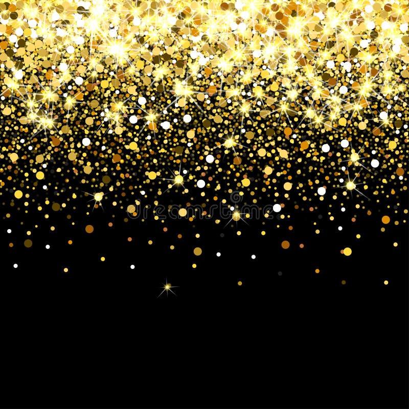 Fallande guld- partiklar på en svart bakgrund Spridda guld- konfettier Rik lyxig modebakgrund Ljust skina royaltyfri illustrationer