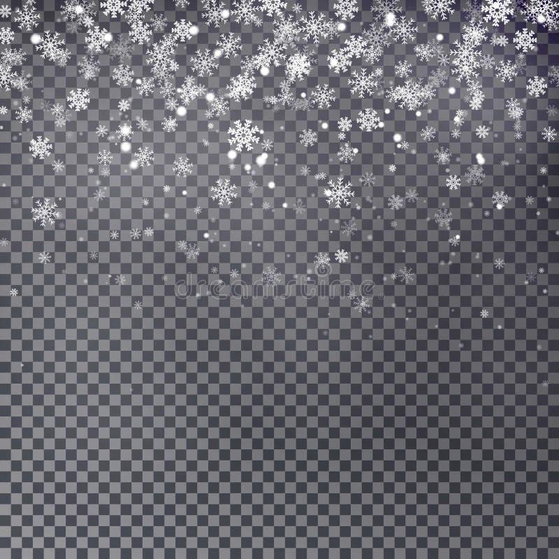Fallande jul som skiner genomskinlig härlig snö som isoleras på stock illustrationer