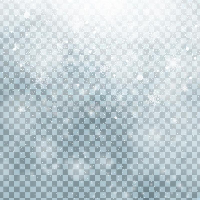 Fallande jul som skiner isolerad genomskinlig härlig snö på en genomskinlig bakgrund Snöflingor snöfall vektor illustrationer