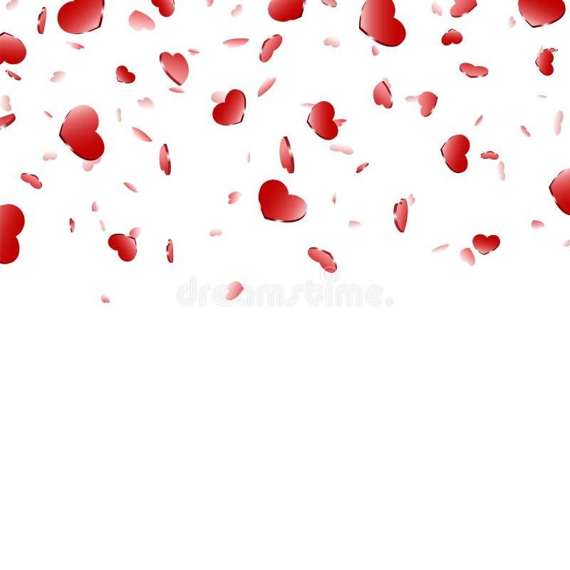 Fallande konfettier isolerad vit bakgrund f?r hj?rta R?da nedg?nghj?rtor Valentine Day garnering F?r?lskelsebest?ndsdeldesign, hj vektor illustrationer