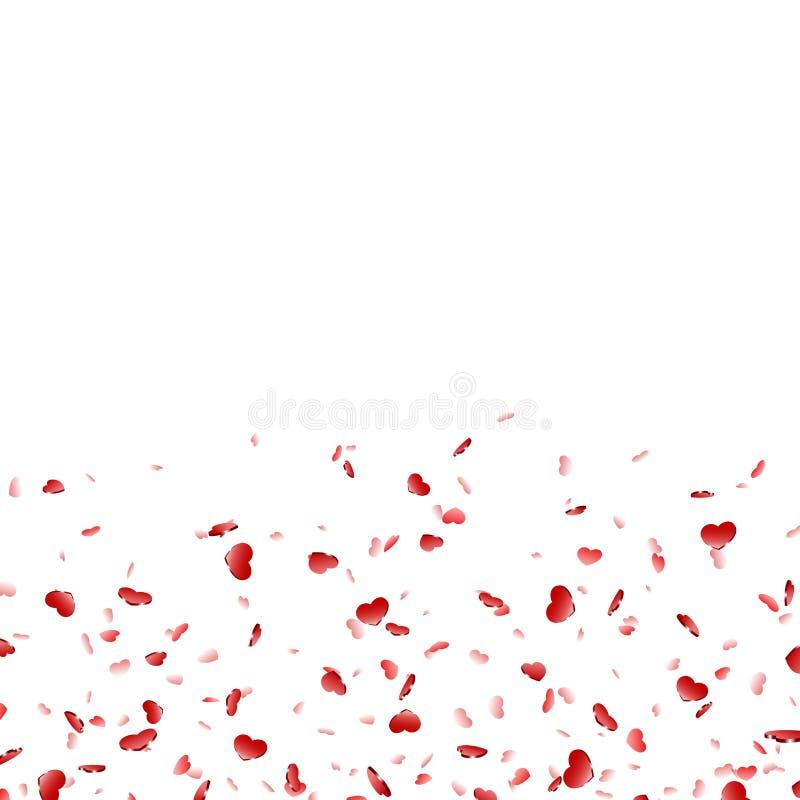 Fallande konfettier isolerad vit bakgrund f?r hj?rta Rosa nedg?nghj?rtor Valentine Day garnering F?r?lskelsebest?ndsdeldesign stock illustrationer