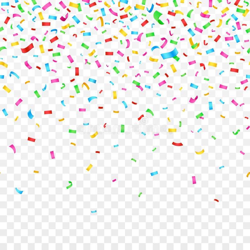 Fallande konfettier på rutig bakgrund garnering för berömpartiferie stock illustrationer