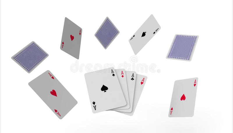 Fallande konst för begrepp för spela kort för poker på isolerat på vit bakgrund stock illustrationer