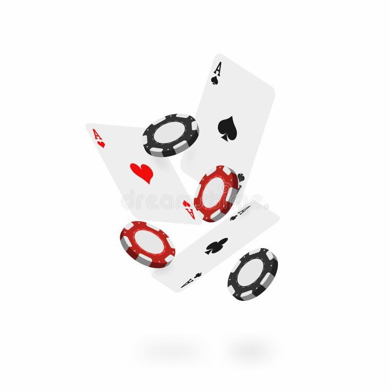 Fallande kort och chiper Den fallande poker gör ett ess på med realistiska kasinochiper på vit bakgrund royaltyfri illustrationer