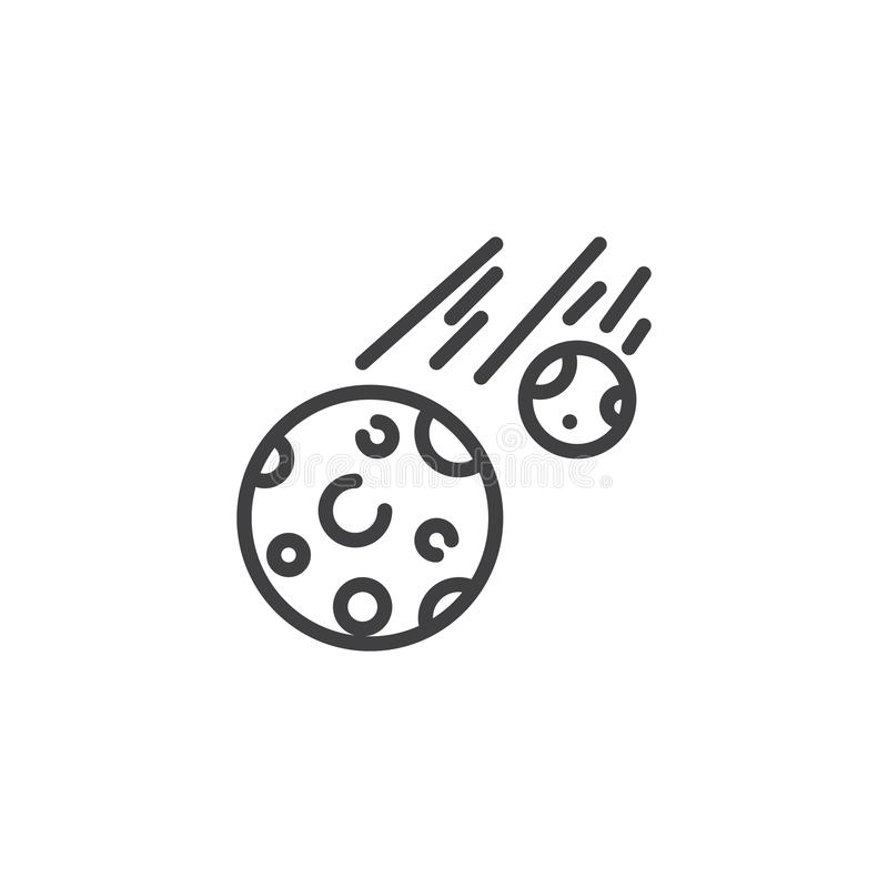 Fallande linje symbol för komet stock illustrationer