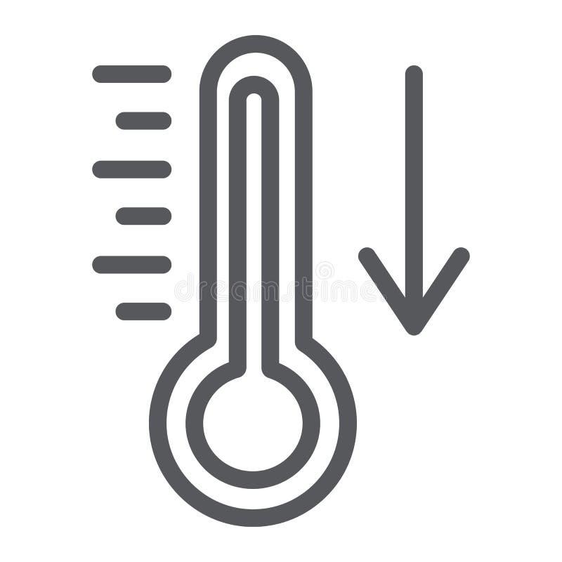 Fallande linje symbol för temperatur, termometer och prognos, kallt temperaturtecken, vektordiagram, en linjär modell på a royaltyfri illustrationer