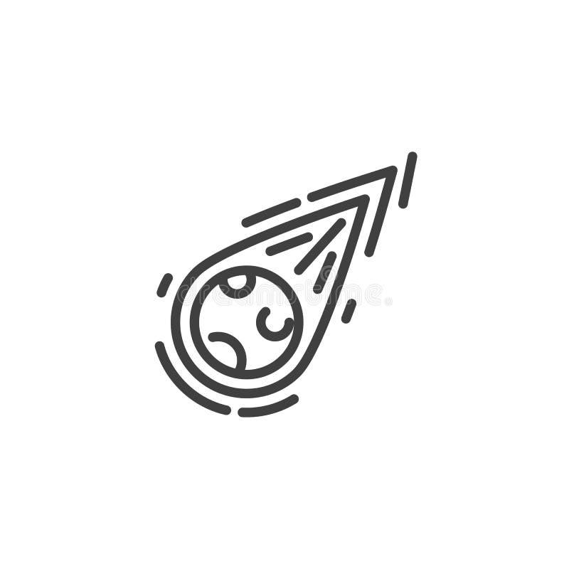 Fallande linje symbol f?r komet stock illustrationer