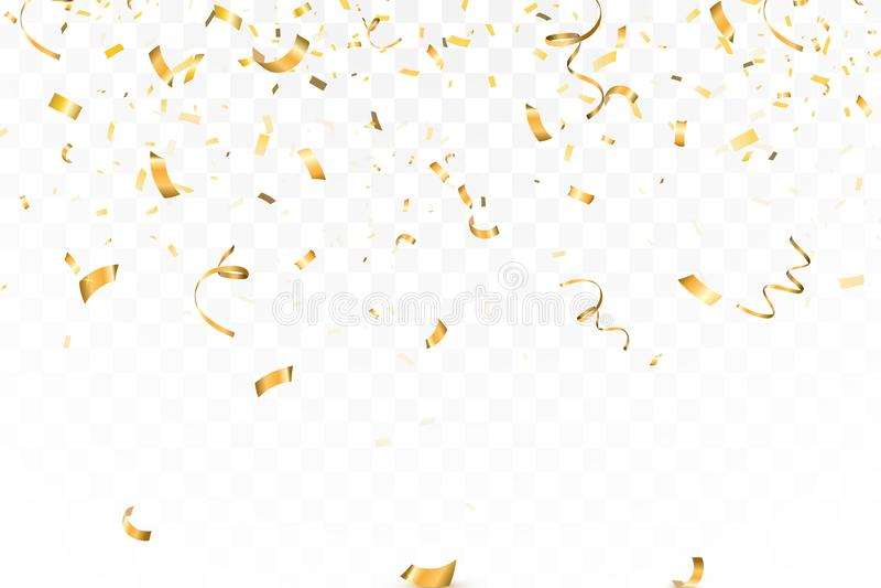 Fallande ljus guld blänker konfettiberöm, slingrande som isoleras på genomskinlig bakgrund Nytt år födelsedag stock illustrationer