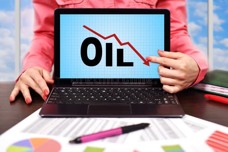 Fallande olje- diagram royaltyfri fotografi