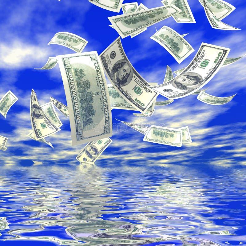 fallande pengar 3d royaltyfri illustrationer