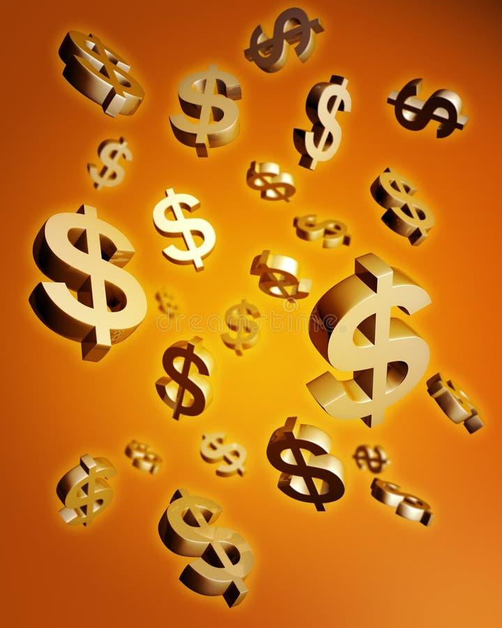 fallande pengar för begreppsdollar stock illustrationer