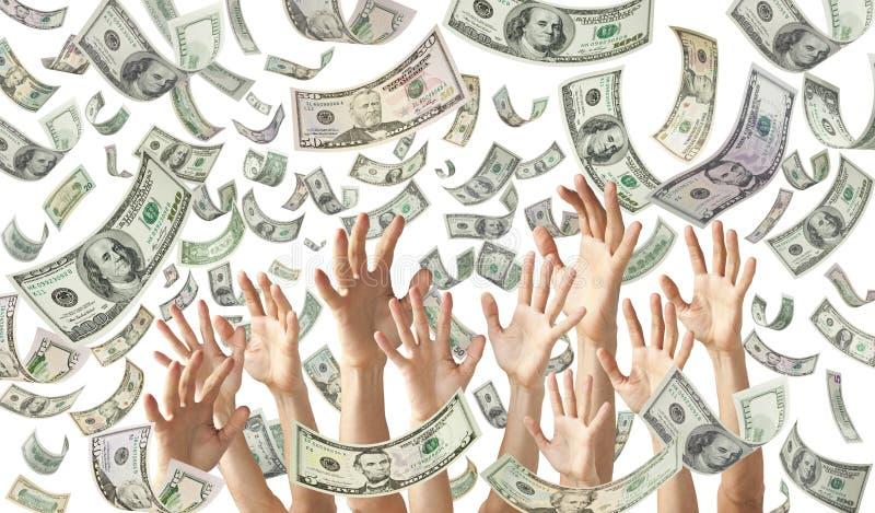Fallande pengar räcker dollarbanerbakgrund royaltyfria bilder