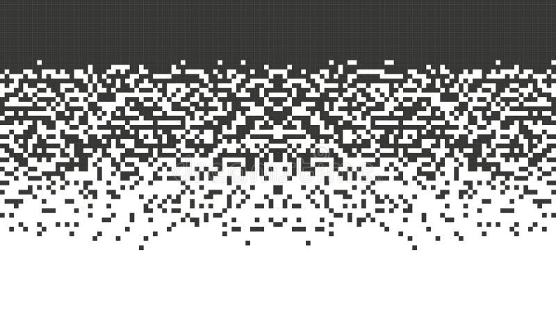 Fallande PIXEL För bakgrundslutningen för mosaiken isolerade den abstrakta designen svarta beståndsdelar på den vita backgrouen royaltyfri illustrationer