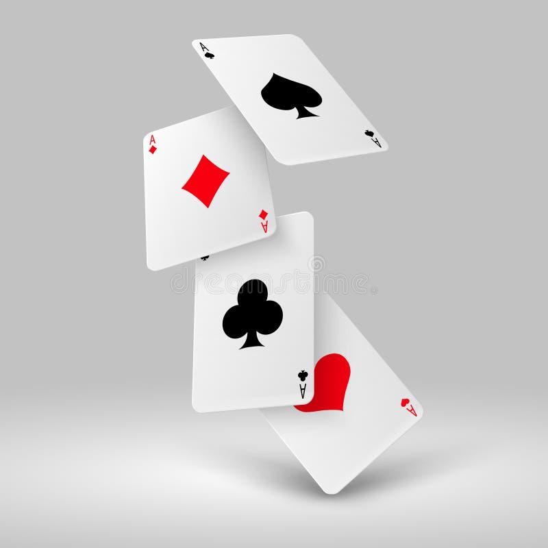 Fallande poker som spelar kort av överdängare Begrepp för kasinodobblerivektor royaltyfri illustrationer