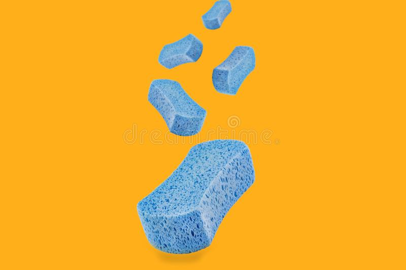 Fallande porösa blåa svampar på guling royaltyfri fotografi