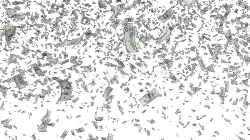 Fallande sedlar som isoleras på vit bakgrund vektor illustrationer