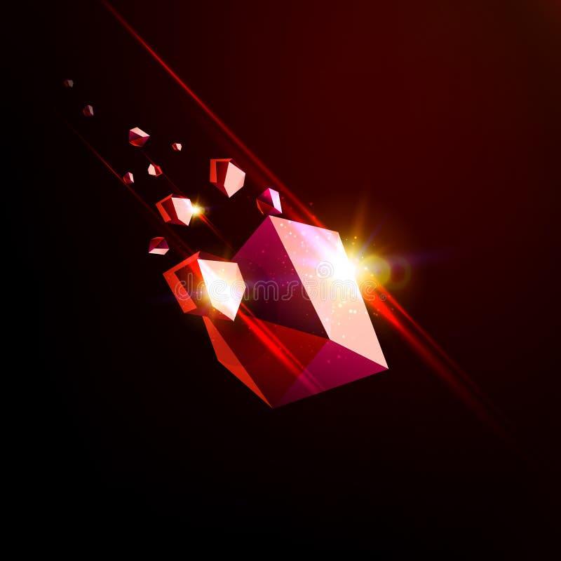 Fallande skönhetsten, rubin, utrymmeskräp, röd kollapsande asteroid, illustration för vektor 3D Isolerad ovanlig logo royaltyfri illustrationer