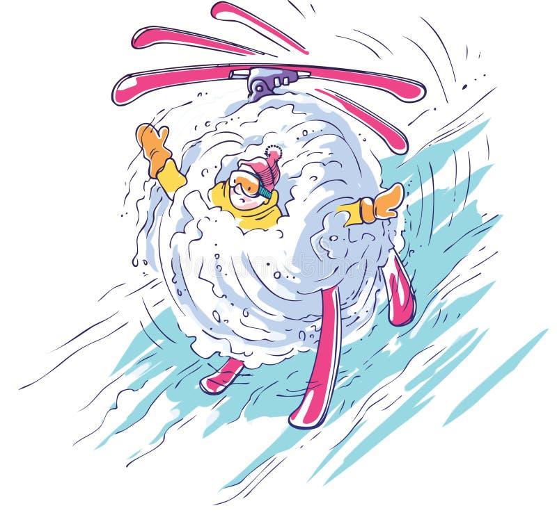 fallande skier stock illustrationer