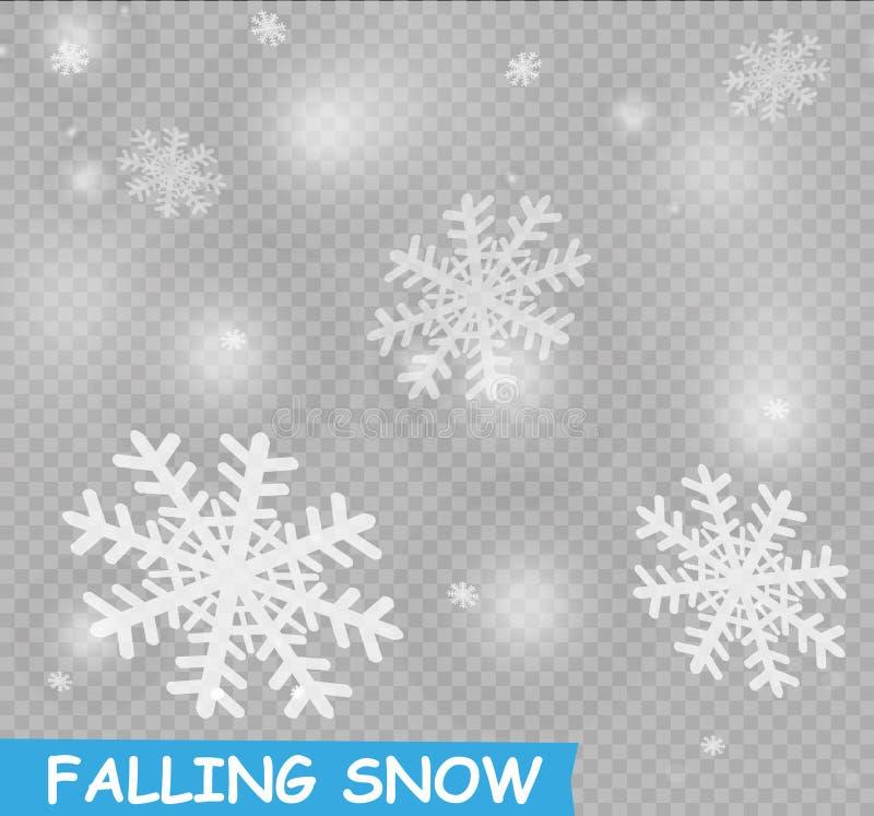 Fallande snö för materielillustration Snöflingor snöfall genomskinlig bakgrund Nedgång av snö stock illustrationer