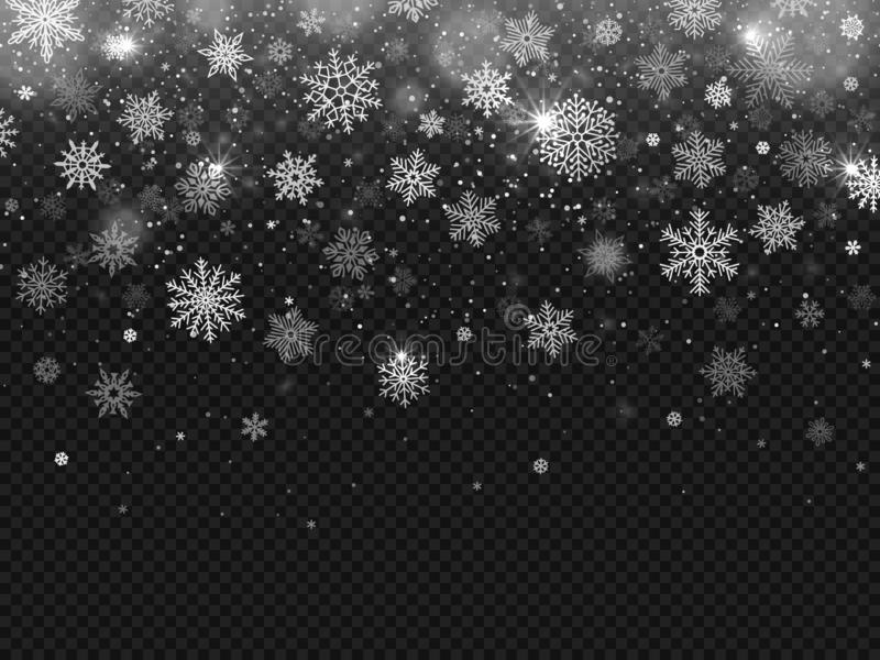 Fallande snö för vinter Snöflingor faller, julgarneringsnöflingan och snöad snöstormen isolerad vektorbakgrund royaltyfri illustrationer